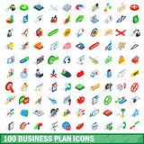 100 business plan icons set, isometric 3d style Stock Photo