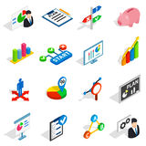 Business plan icons set, isometric 3d style. Business plan icons in isometric 3d style. Business strategy set isolated vector illustration Stock Images