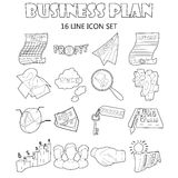 Business plan icons set, outline style. Outline business plan icons set. Universal business plan icons to use for web and mobile UI, set of basic business plan Royalty Free Stock Image