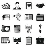 Business plan icons set, simple style. Business plan icons set. Simple illustration of 16 business plan icons for web Vector Illustration