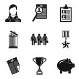Business plan icons set, simple style. Business plan icons set. Simple set of 9 business plan vector icons for web isolated on white background Stock Photo