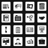 Business plan icons set squares vector Royalty Free Stock Photos