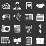 Business plan icons set grey vector. Business plan icons set vector white isolated on grey background Royalty Free Stock Image