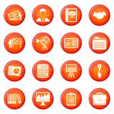 Business plan icons vector set. Of red circles isolated on white background Stock Photography