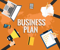 Business plan. Illustrated with laptop, hand, notebook, document, customer rating, pencil,  flat vector illustration vector illustration