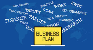 Business plan. Illustrated with laptop and text describe Stock Photo