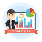 Business plan illustration. Man with data board and infographics Royalty Free Stock Photography