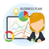 Business plan illustration. Woman with data board and infographics Stock Photo