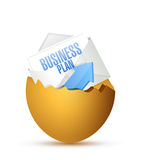 Business plan inside a broken egg. illustration Royalty Free Stock Photo