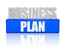 Business plan in lettere 3d e blocco Fotografie Stock