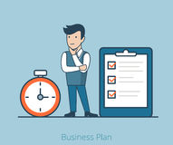 Business plan Linear Flat man task checklist stopw. Linear Flat Businessman think on task list, huge checklist, stopwatch vector illustration. Business plan Stock Photos