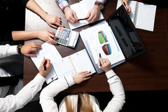 Business plan meeting. Image of business people in a workteam Stock Photos