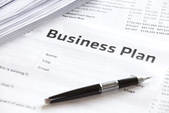Business plan. Paper of Business plan strategy and Business concept Royalty Free Stock Photography