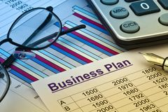 Business plan of a permanent establishment Stock Photos