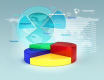 Business plan with pie graphs and charts. Business growth and finance concept.3d model scene Stock Photos