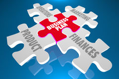Business Plan Product Marketing Finances Puzzle. 3d Illustration Royalty Free Stock Photos