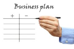 Business plan with pros and contra Stock Images