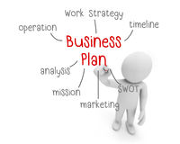Business plan. Red and black text ,business man writing  concept ,Man explain components of , 3d rendering Royalty Free Stock Photos
