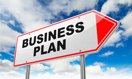 Business Plan on Red Road Sign. Business Plan Inscription on Red Road Sign on Sky Background Royalty Free Stock Photos