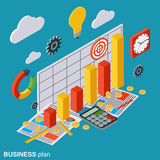 Business plan, report, financial statistics, analytics vector concept. Business plan, report, financial statistics, analytics flat isometric vector concept Stock Photo