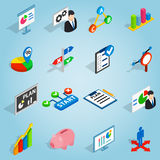 Business plan set icons, isometric 3d style Royalty Free Stock Images