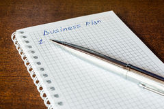 Business plan sign in the notebook Royalty Free Stock Image