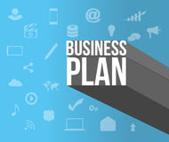 Business plan sign over icons Stock Photo