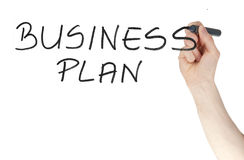 Business plan sign written by a felt tip pen on glass board Royalty Free Stock Photos