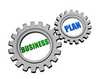 Business plan in silver grey gears Stock Images