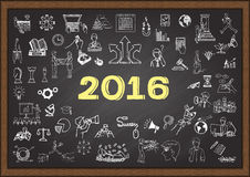 Business plan sketch for year 2016 on chalkboard Royalty Free Stock Photography