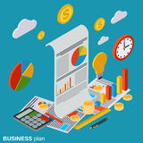 Business plan, startup vector concept. Business plan, startup flat isometric vector concept illustration Royalty Free Stock Photography