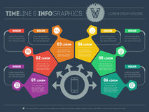 Business plan with 6 steps. Infographic with design elements.  Royalty Free Stock Photos