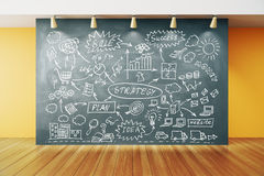 Business plan strategy on blackboard in empty room with wooden f Royalty Free Stock Photography