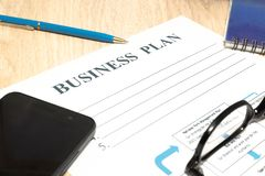 Business plan strategy with presentation in the office royalty free stock image