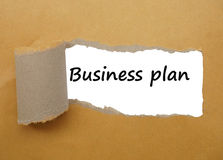 Business plan strategy, with tear paper background Stock Images
