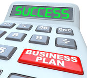 Business Plan Success Strategy Words Calculator. The words Business Plan on a red button of a calculator with the word Success on its digital display to Stock Photos