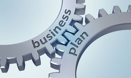 Business plan sugli ingranaggi del metallo Immagini Stock Libere da Diritti