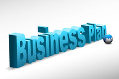 Business plan text. Illustration of business plan text with globe Royalty Free Stock Photos
