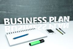 Business Plan text concept. Business Plan - text concept with chalkboard, notebook, pens and mobile phone. 3D render illustration Royalty Free Stock Photo