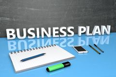 Business Plan text concept. Business Plan - text concept with chalkboard, notebook, pens and mobile phone. 3D render illustration Royalty Free Stock Images