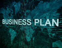 Business Plan. Text concept on green digital world map background Royalty Free Stock Photos