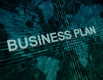 Business Plan. Text concept on green digital world map background Stock Photo