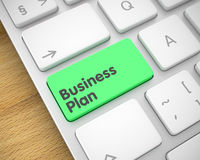 Business Plan - Text on Green Keyboard Key. 3D. Royalty Free Stock Photo