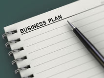 Business plan title, notebook, planner, pen. Notebook with business plan title and pen. Good for business concept Royalty Free Stock Photo