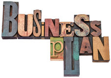 Business plan typography in wood type Stock Images