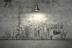 A business plan on a wall illuminated with single lamp from above. 3d render. A business plan drawn on a concrete wall illuminated with single lamp from above stock image