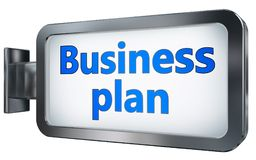 Business plan on billboard background. Business plan wall light box billboard background , isolated on white Royalty Free Stock Image