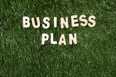 Business Plan Wooden Sign On Grass Royalty Free Stock Photos