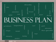Business Plan Word Cloud Concept on a Blackboard. Business Plan Word Cloud Concept on a Chalkboard with great terms such as profits, project, develop, goals Stock Image