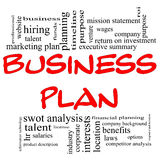 Business Plan Word Cloud in Red & Black. Business Plan Word Cloud Concept in red letters with great terms in black such executive summary, mission statement Stock Photos